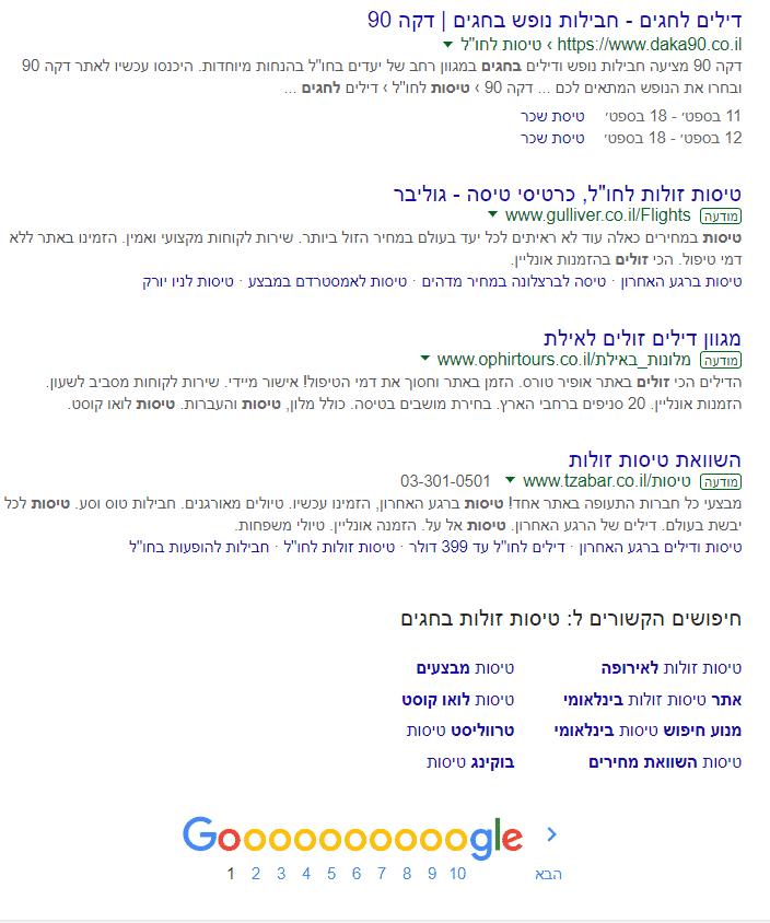 פרסום בגוגל של מודעות בתחתית תוצאות החיפוש